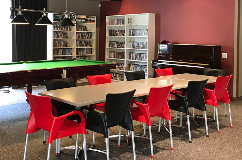 Snooker table and seating, community centre